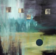 Ryan_Collage Series The Lake 54in x 54in acryl and wood and canvas collage on canvas 2009