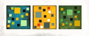 Vanessa Ryan blue, yellow, green triptych 3-12 inch square paintings